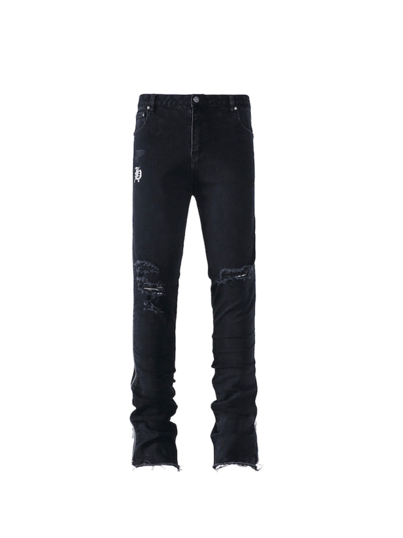 Full Zipper Ripped Slim Denim Pants