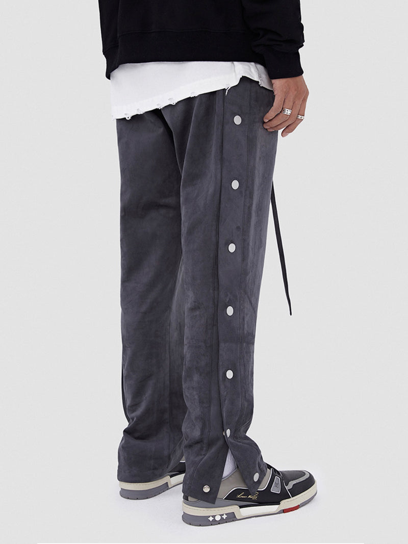 Dark gray Suede Leather-breasted drawstring Pants