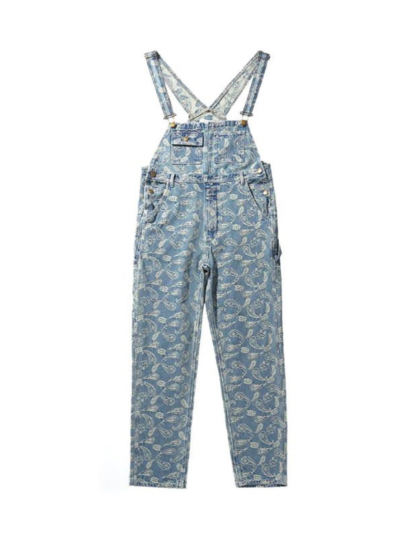 Embroidery Cashew Flower Overall Denim Pants