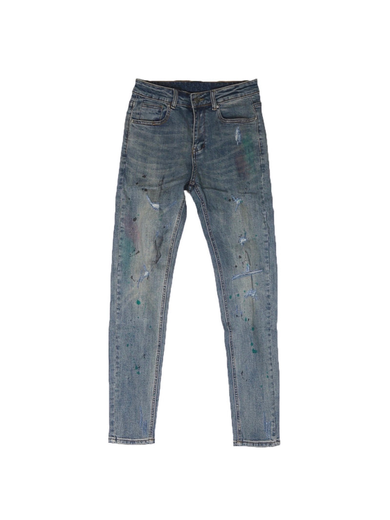 Skinny Washed retro splashed destroyed Denim