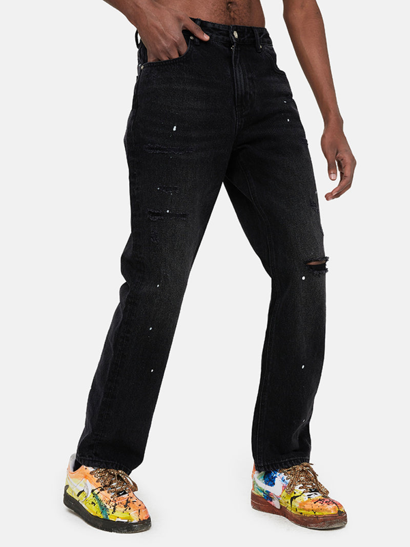 Black straight Leg Distressed Jeans