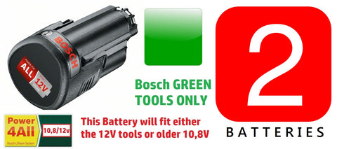 2 x new 2.5AH BOSCH Tool 12v Batteries Li-ION 1600A00H3D 3165140852623