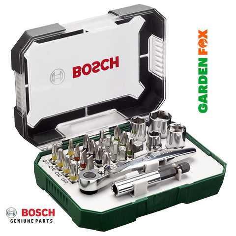 new Bosch Screwdriver 26 BIT SET+Mini Ratchet 2607017322 3165140768207