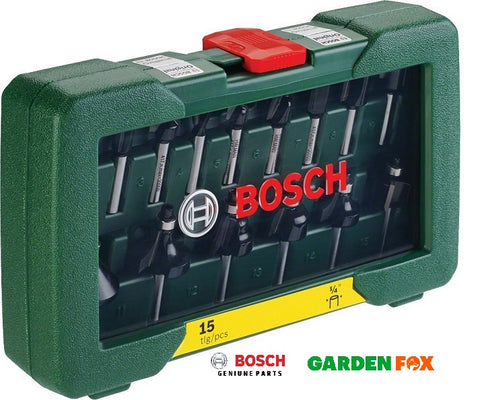 new BOSCH 15 Piece Router Set POF-1200 & 1400 2607019468 3165140415866