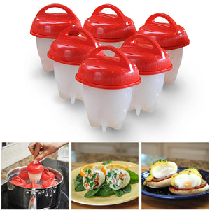 6 PCS Silicone Egglettes Egg Cooker