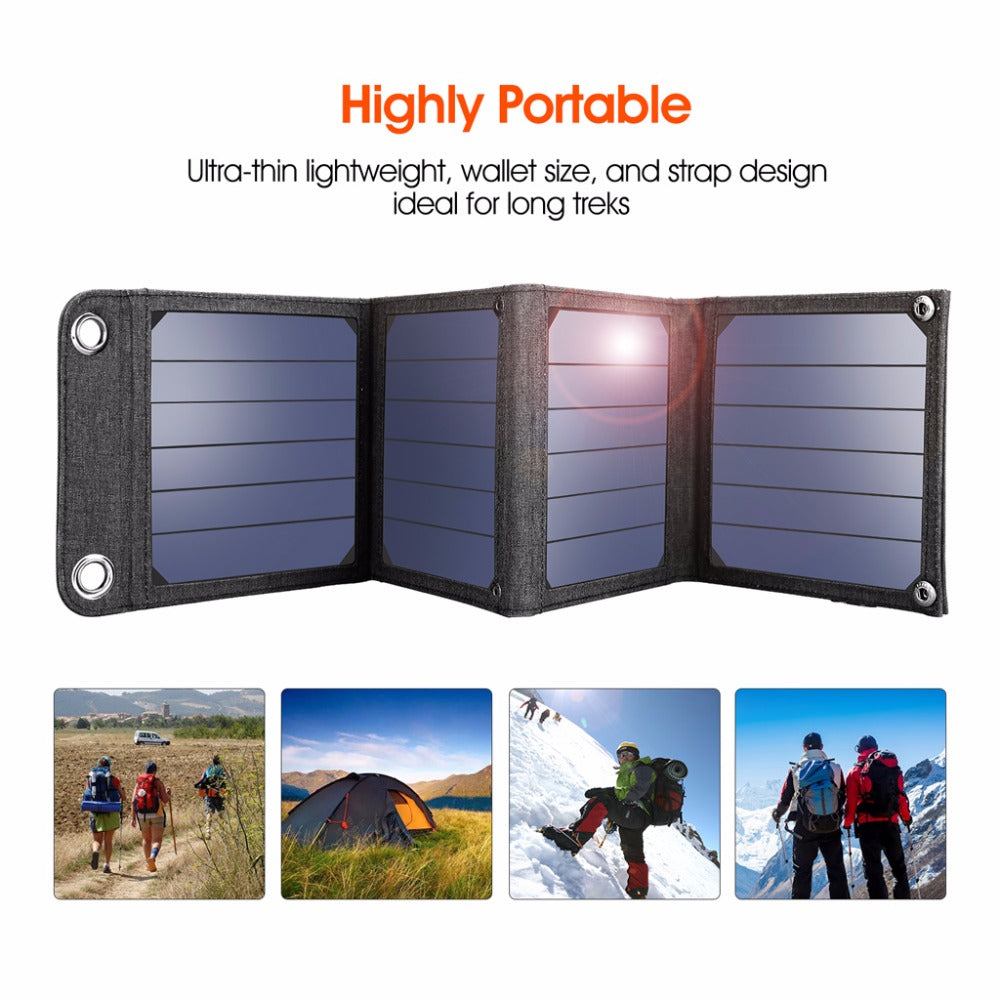 Portable 14W Solar Cells Charger 5V 2.1A USB Output Devices
