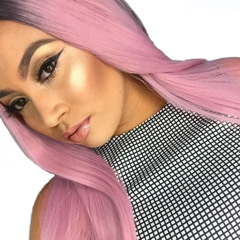 Black Pink Ombre Wig