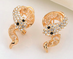Rhinestone filigree snake earrings