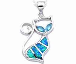 Ocean blue cat gem necklace