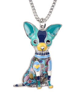 Enamel colourful chihuahua necklace
