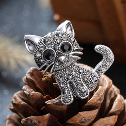 Cat rhinestone brooch