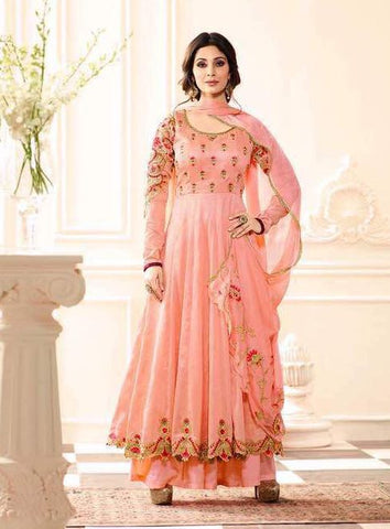 Peach embroider salwar