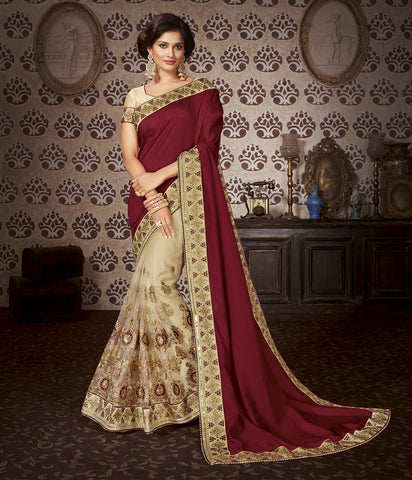 Maroon embroider saree