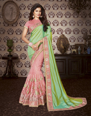Peach embroider saree