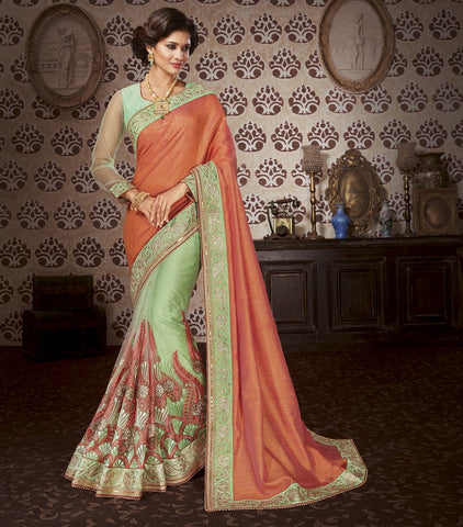 Mahogany embroider saree