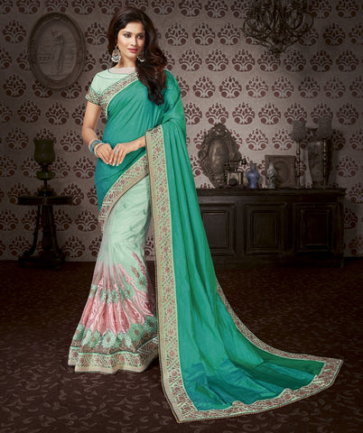 Seafoam Embroider saree