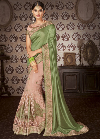 Forest Green Embroider saree