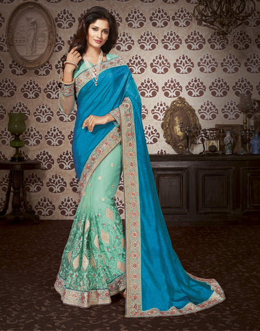 Mint Embroider saree