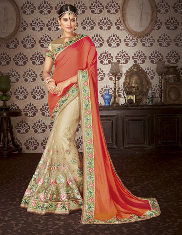 Orange embroider saree