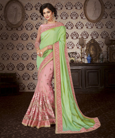 Salmon embroider saree