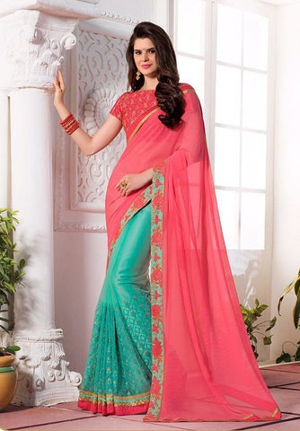 Strawberry embroider saree