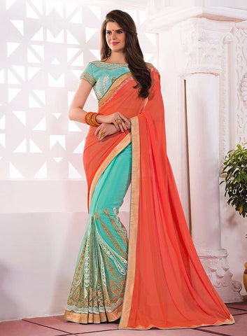 Sky blue embroider saree
