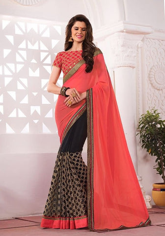 Coral Embroider saree