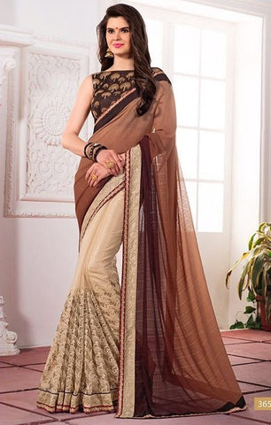 Coffee Embroider saree