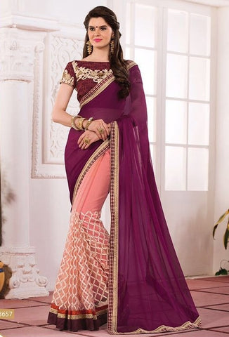 Grape embroider saree