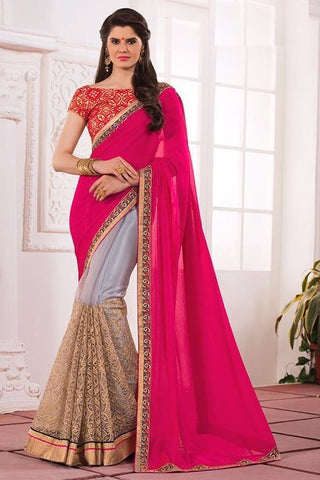 Deep Pink embroider saree