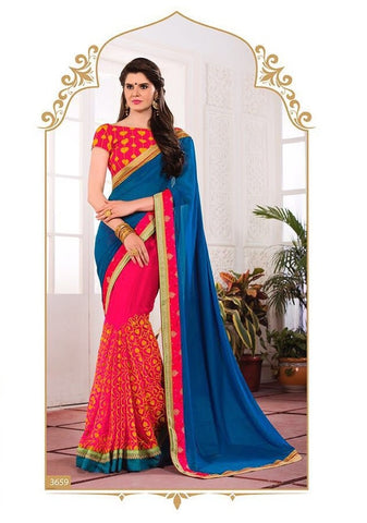 Blue embroider saree