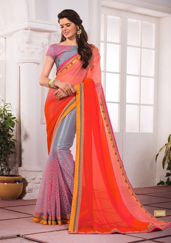Marmalade embroider saree