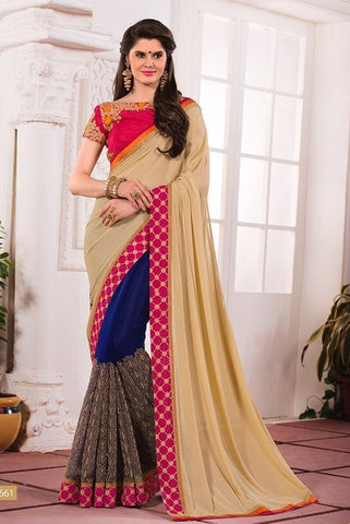 Wheat embroider saree