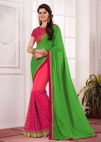Green embroider saree
