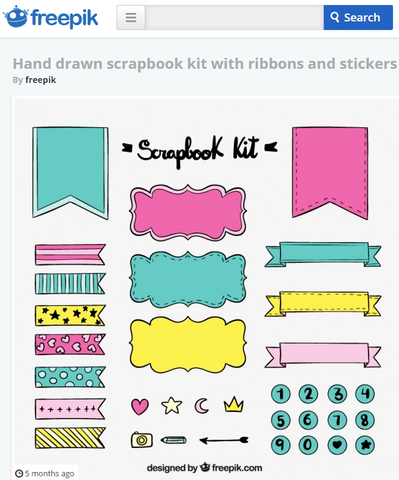 Hand drawn scrapbook kit with ribbons and stickers