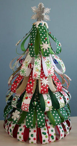 A colorful ribbon Christmas tree