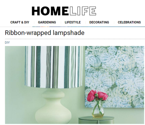 Ribbon-wrapped lampshade