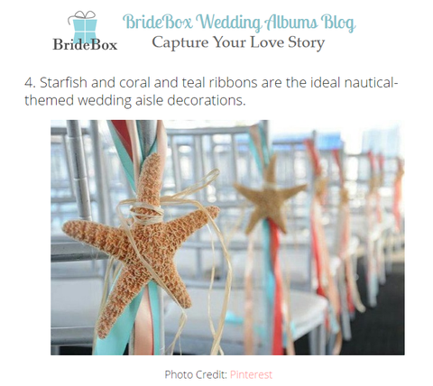 Starfish and coral and teal ribbons are the ideal nautical-themed wedding aisle decorations