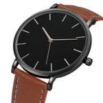 Mens Simply Stylish Leather Strap Watch