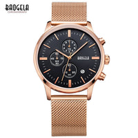 Mens Luxury Chronograph Sports Watch with Metal Band