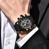 MensMens Luxury Chronograph Sports Watch with Metal / Rubber Strap - Black/Gold
