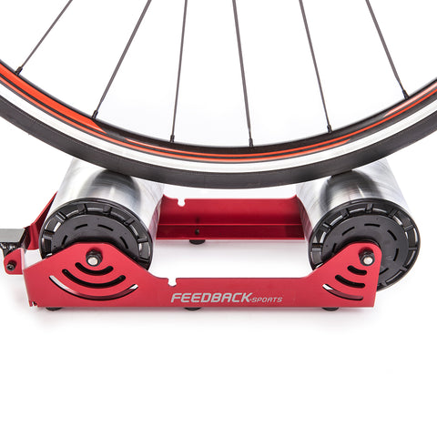 Feedback Sports Omnium Portable Cycle Trainer Closeup of Rollers