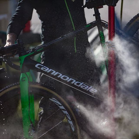 Feedback Sports Pro Elite Bike WorkStand being used to wash a Cannondale Road Bike