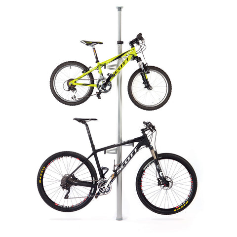 Velo Column Vertical Bike Storage Stand (Silver) with 2 Bikes