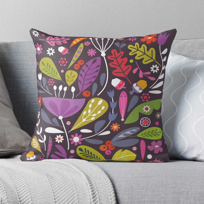 """Autumnal Things"" Cushion in Velvet"