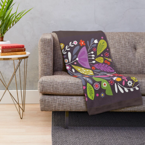 """AUTUMNAL THINGS"" FLEECE PRINTED BLANKET"
