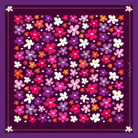 RETRO BLOSSOMS SILK SCARF