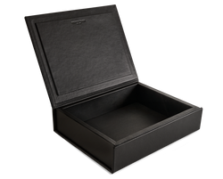 The Bookbox: Black Surplus Leather Box - Medium | August Sandgren