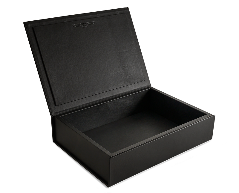 The Bookbox: Black Surplus Leather Box - Large | August Sandgren
