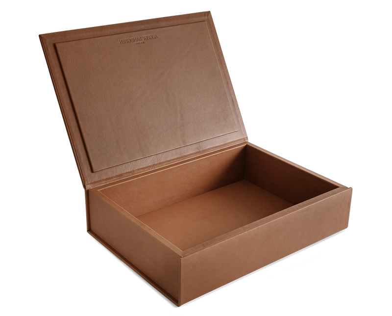 The Bookbox: Cognac Surplus Leather Box - Large | August Sandgren